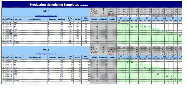 Production Schedule Template | Daily Work Schedule Template with 2 ...