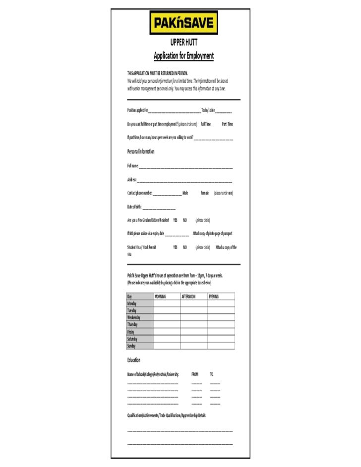 PAK'nSAVE Application for Employment Form Free Download
