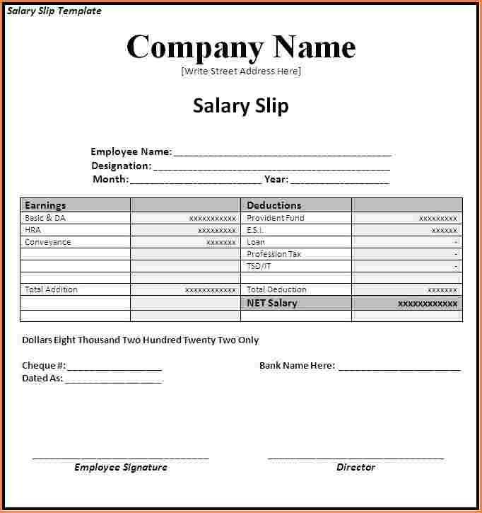 6+ salary slip format free download in excel | Sales Slip Template