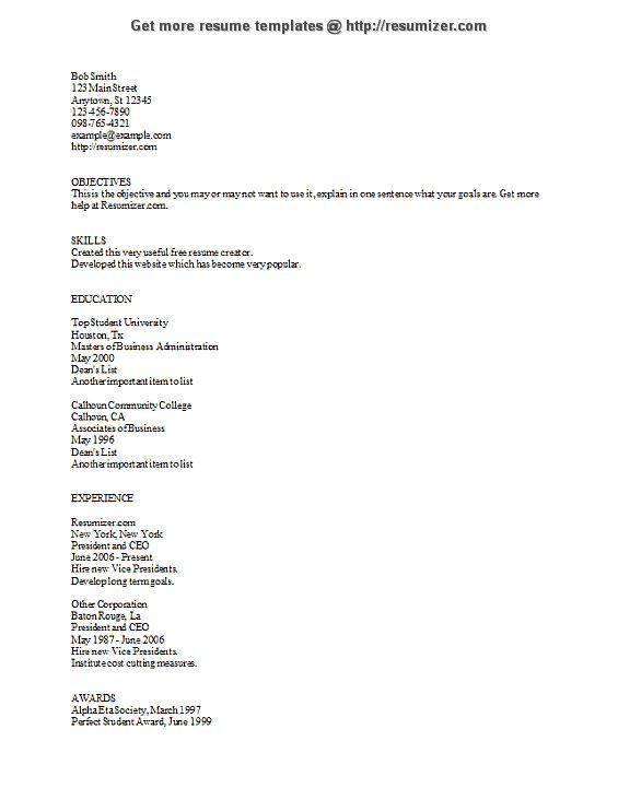 Ascii Resume Example