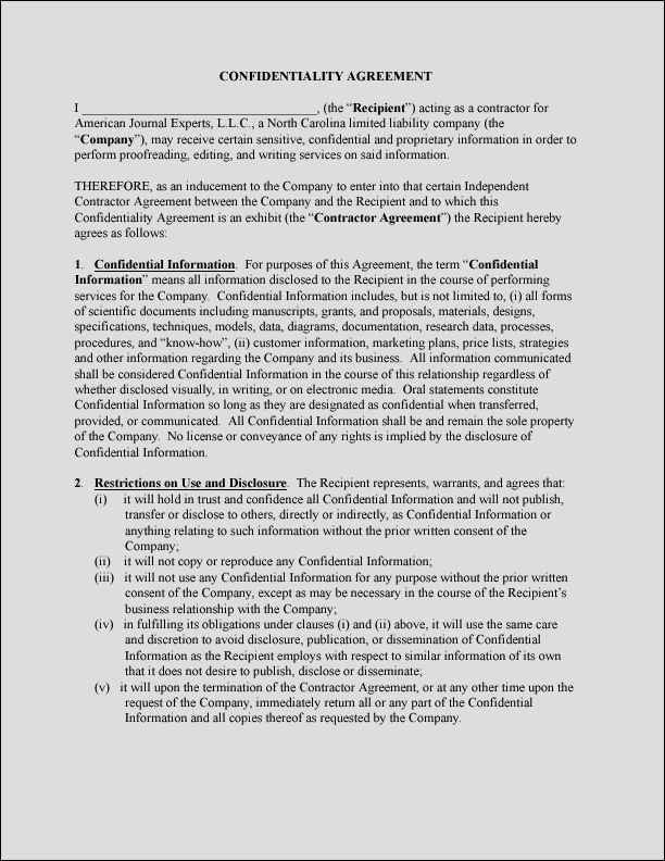 Sample Non-Disclosure Agreement | Confidentiality Agreement Sample