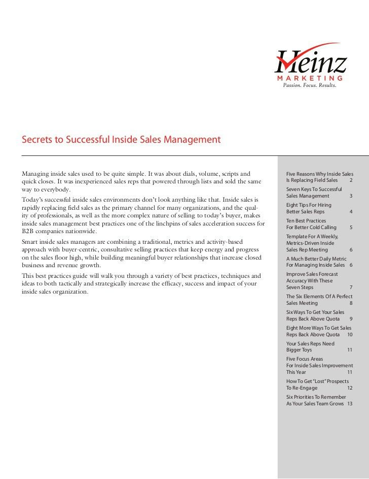Secrets to Successful Inside Sales Management