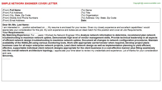 Senior Network Engineer Ccie Cover Letters