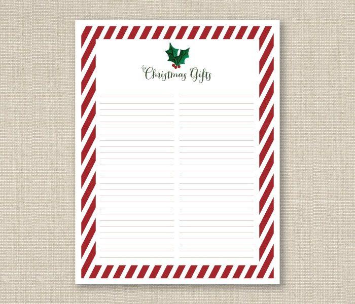 christmas gift list printable – Ashlee Proffitt