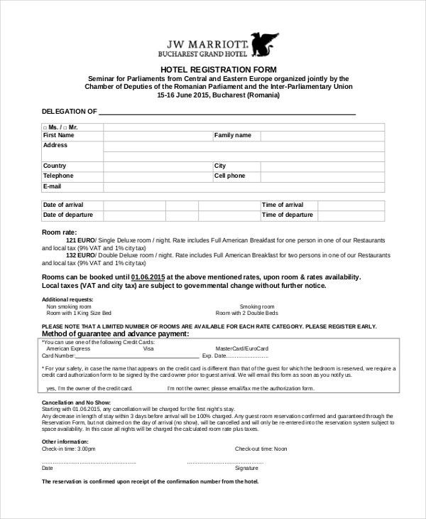 9+ Sample Hotel Registration Forms | Sample Forms