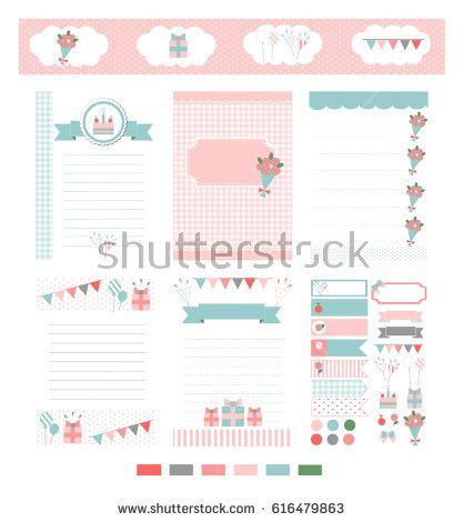 Template Notebook Paper Diary Scrapbook Card Stock Vector ...