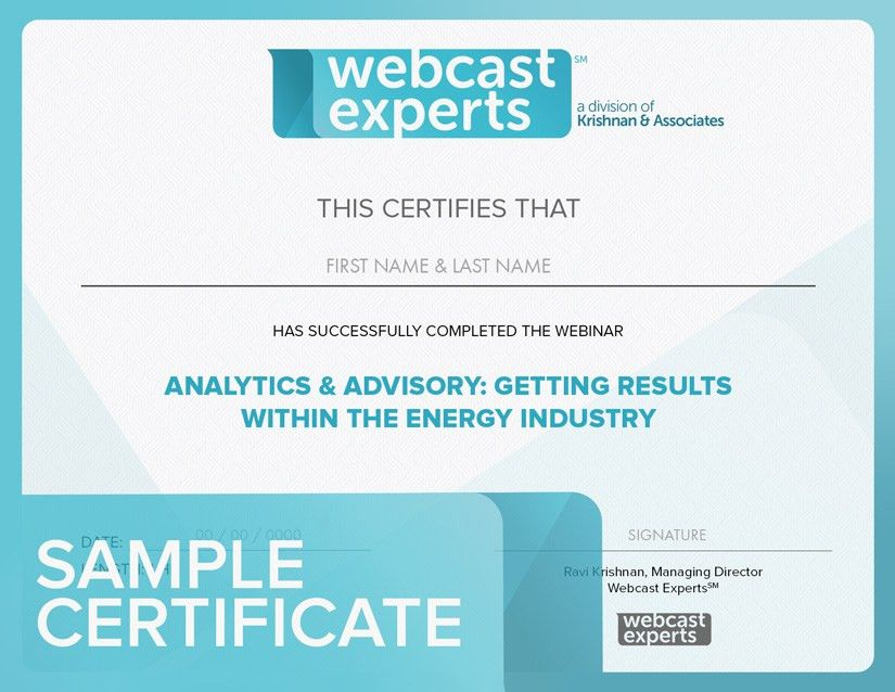 Certificates of Completion for Energy Industry Webinars — Webinar ...
