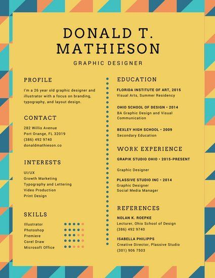Colorful Triangles Graphic Designer Creative Resume - Templates by ...