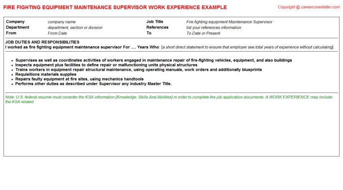 Maintenance Supervisor Fire Fighting Equipment CV Work Experience ...