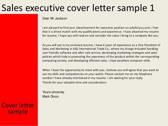 Covering Letter For Sales Executive #11314