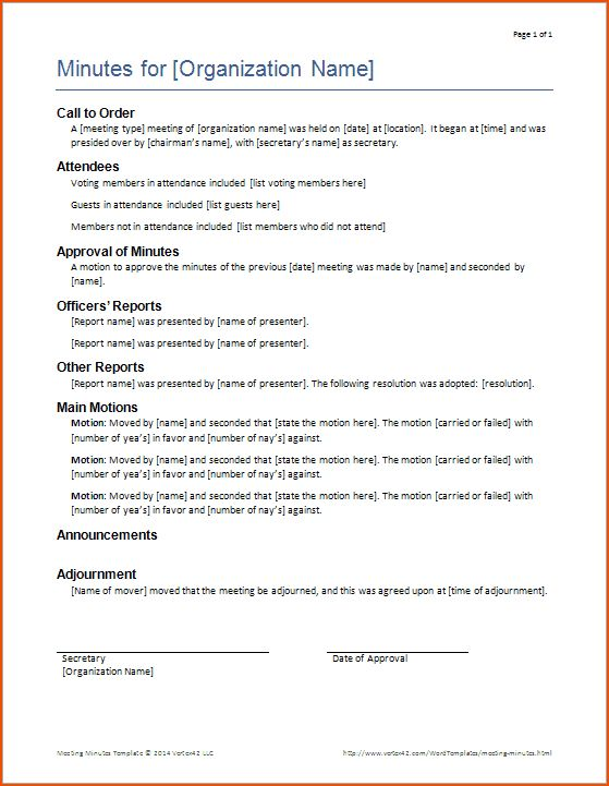 4+ meeting minutes template word - bookletemplate.org