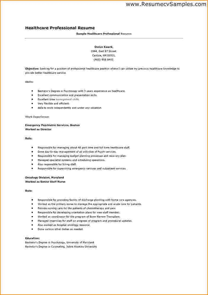 examples of healthcare resumes healthcare resume example sample