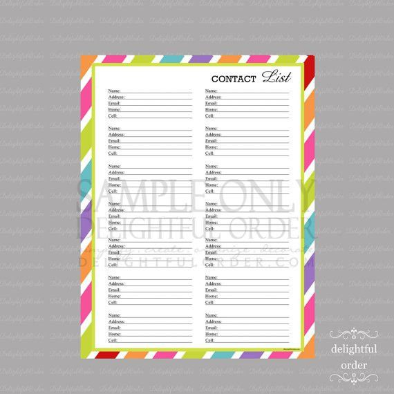 Colorful Contact List Form PDF Printable File Instant