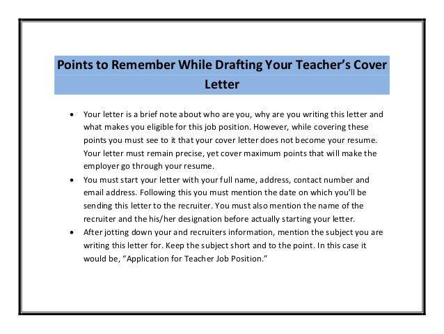 Teacher Cover Letter Sample PDF