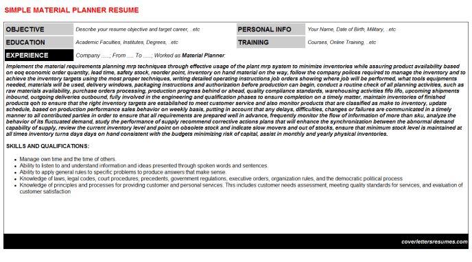 Material Planner Cover Letter & Resume
