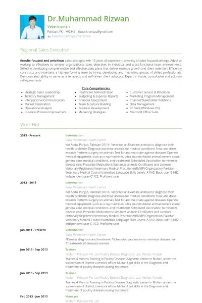 Veterinarian Resume samples - VisualCV resume samples database