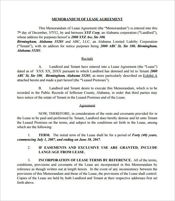 Lease Agreement Copy 10 Best Rental Agreements Images On – Memorandum of Lease Agreement