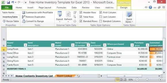 Free Home Inventory Template for Excel 2013