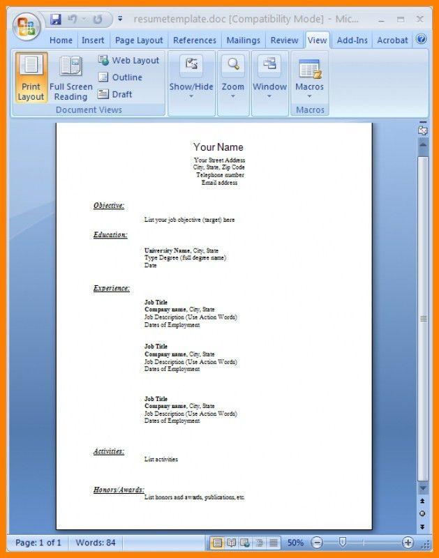 Sample Resume Word Doc – Resume Examples