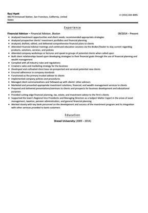 Financial Advisor Resume Sample | Velvet Jobs