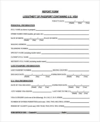 Sample Lost Passport Form - 7+ Free Documents in Word, PDF