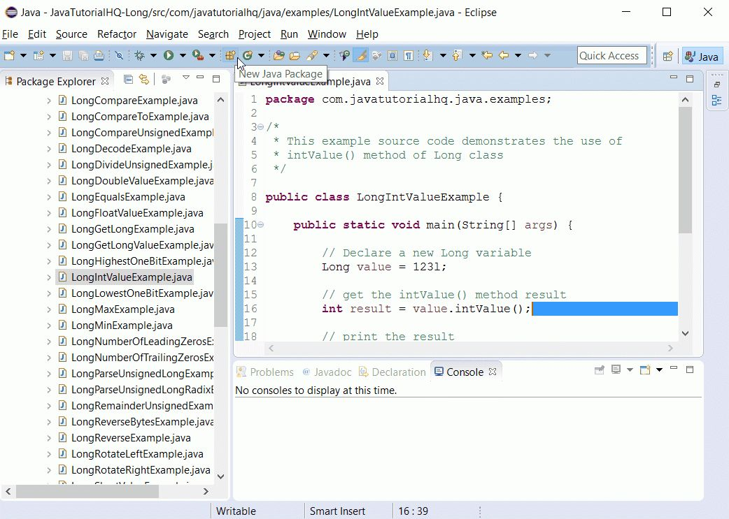 Java Long intValue() method example