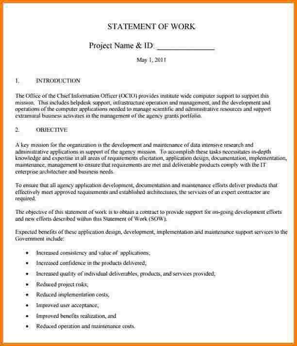 4 statement of work template | Receipt Templates