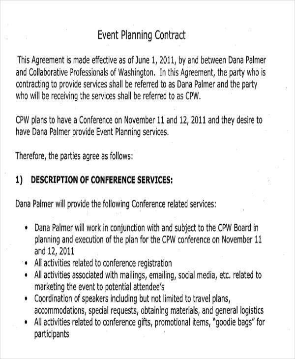 Sample Event Planning Contract Sample Contracts For Event