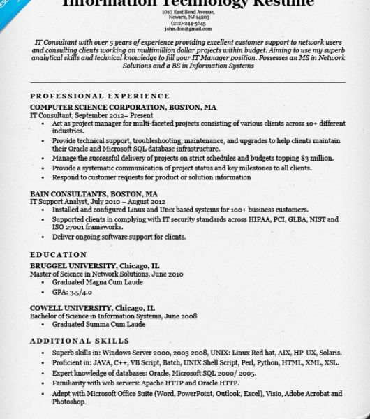 Awesome Design It Resume Examples 6 Information Technology IT ...