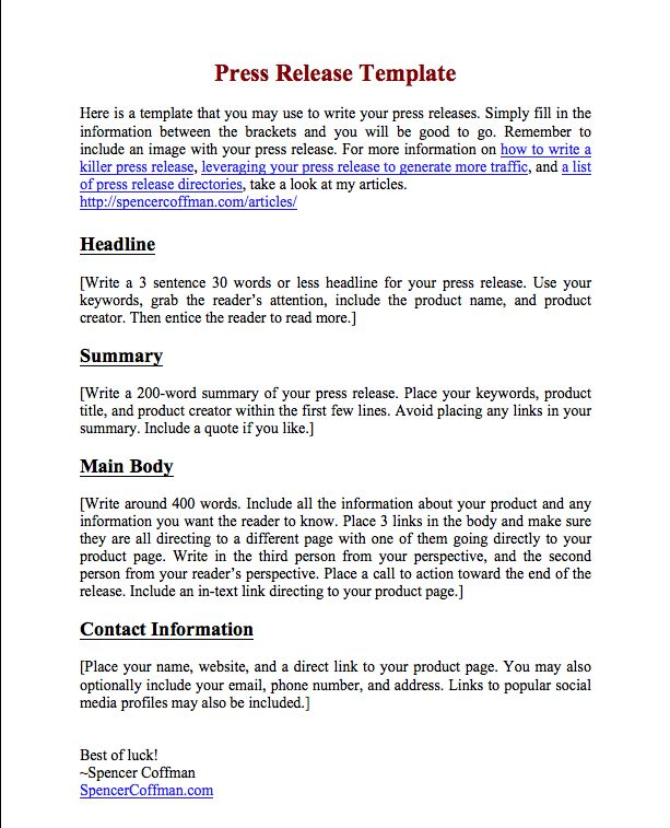 Free Press Release Template For Your Press Releases - Spencer Coffman