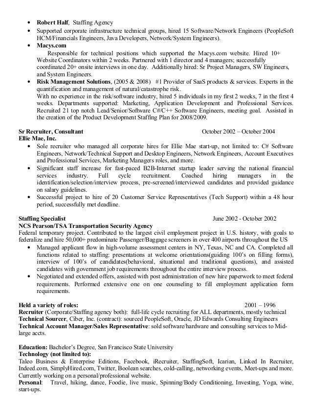 technical recruiter sample resume maintenance mechanic sample
