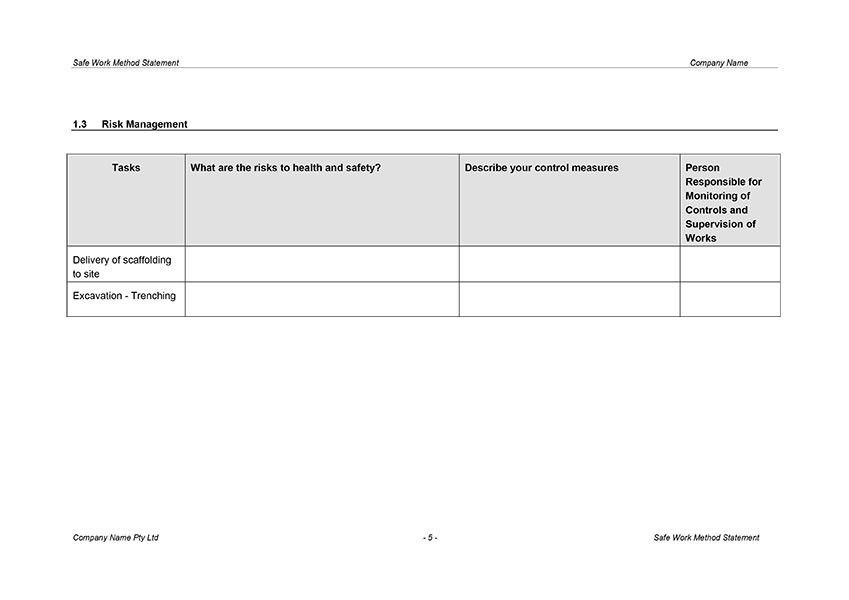 Safe Work Method Statement Template | Digital Documents Direct