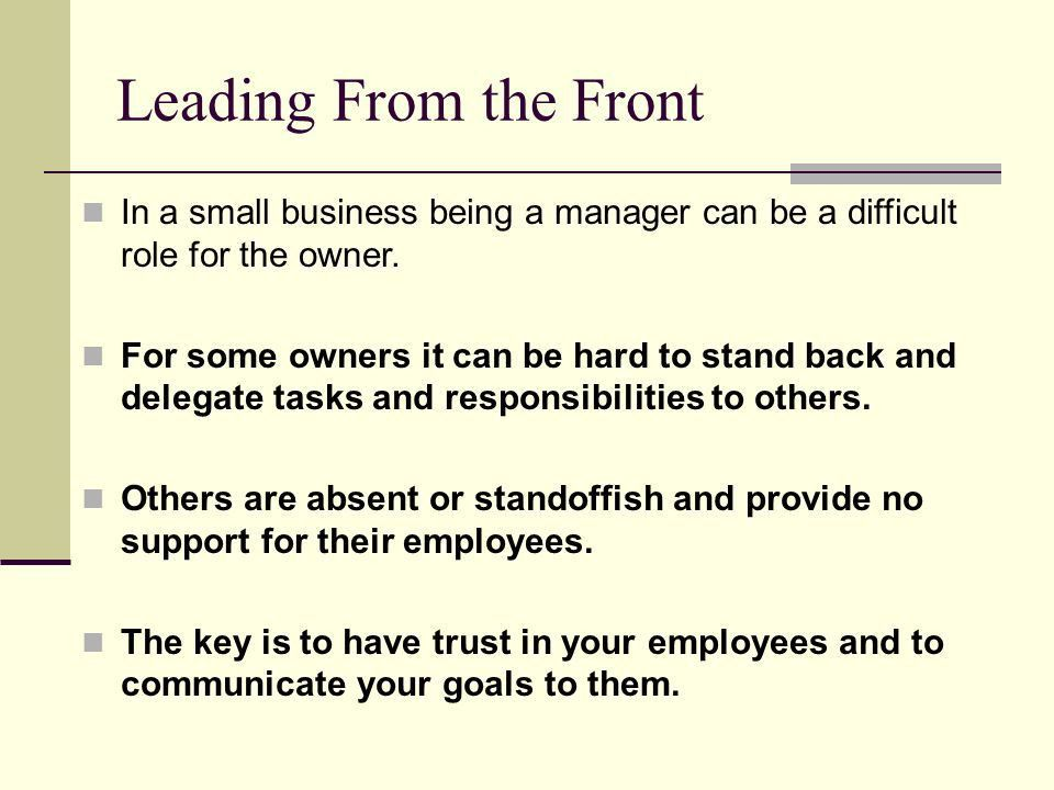 Management. Leading From the Front In a small business being a ...