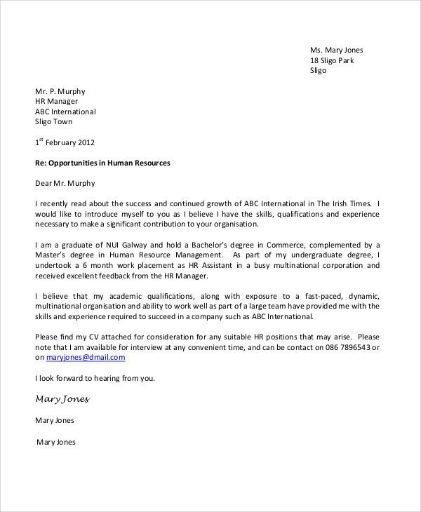 Sample Application Cover Letter - 9+ Examples in Word, PDF