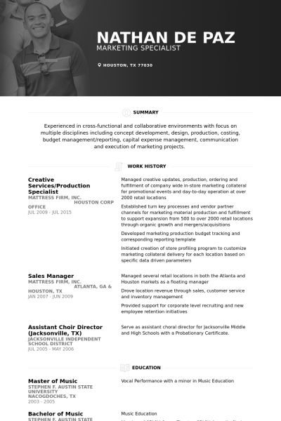 Production Resume samples - VisualCV resume samples database