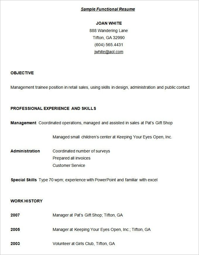 Functional Resume Template 15 Free Samples Examples Format Resume ...