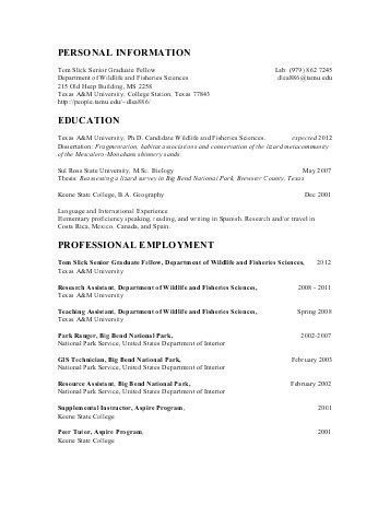 National park service resume