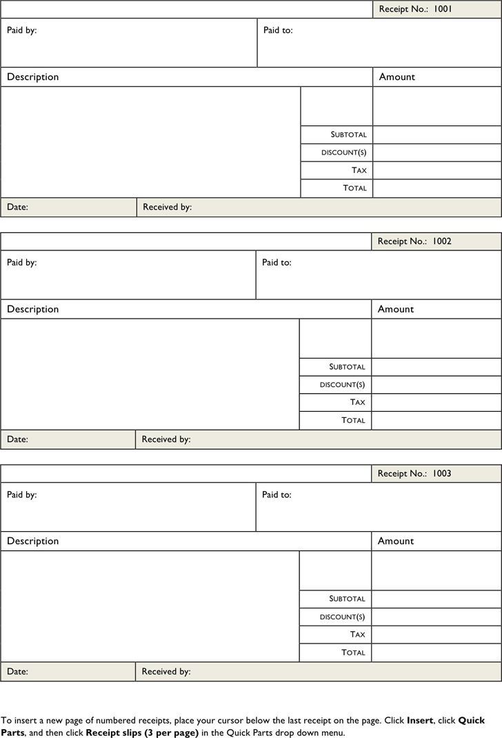 Receipt Forms Free | Free Invoice Template