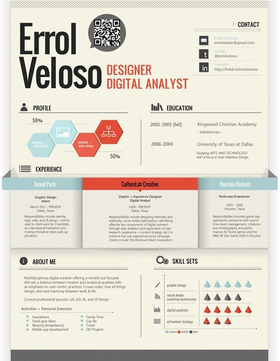 Creative Graphic Resume Designs Which Will Amaze You – 53 Examples ...