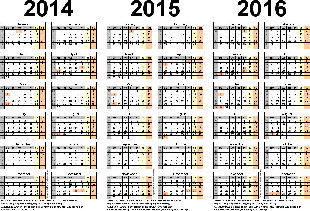Three year calendars for 2014, 2015 & 2016 (UK) for Excel