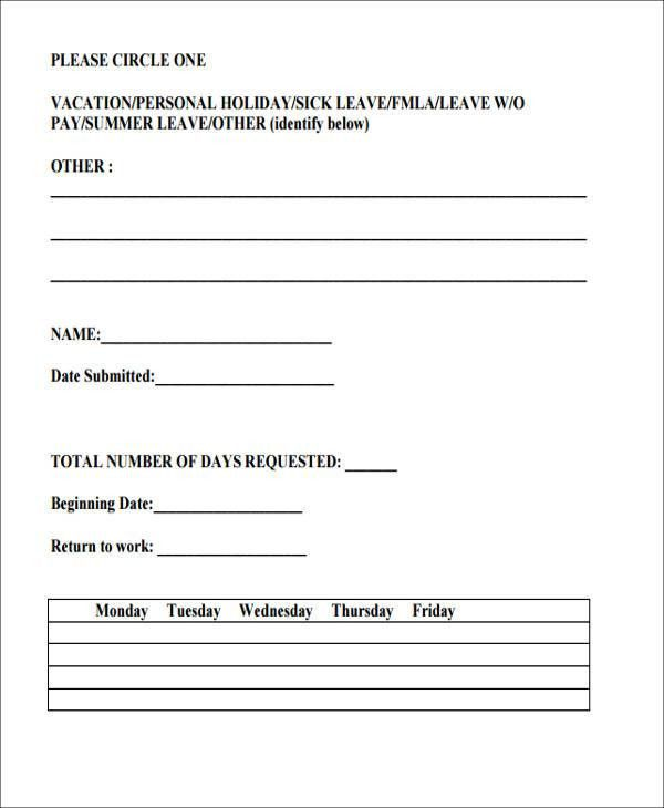 10+ Sample Vacation Request Form - Free Sample, Example, Format ...
