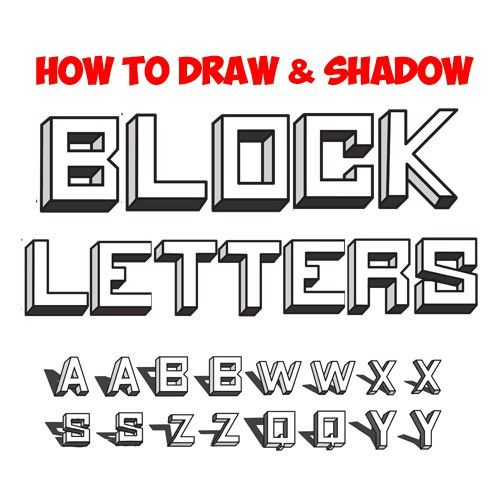 How to Draw 3D Block Letters - Drawing 3 Dimensional Bubble ...