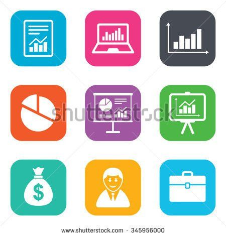 Statistics Accounting Icons Charts Presentation Pie Stock ...