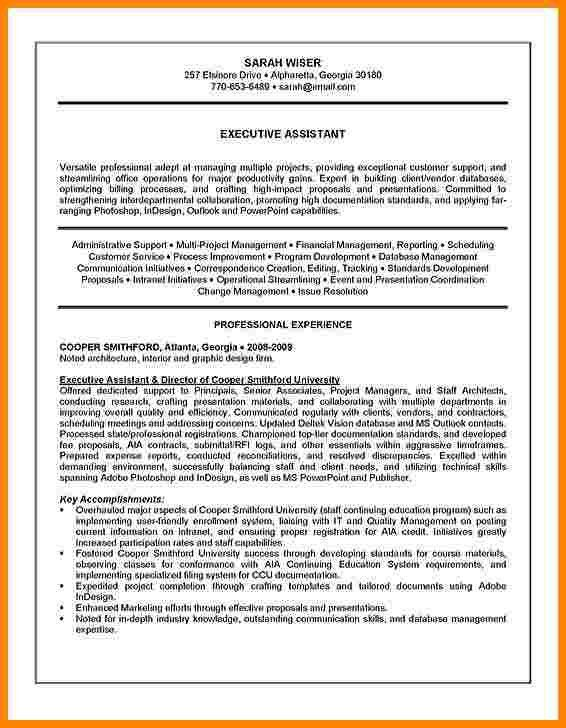 Executive Assistant Resume Summary [Template.billybullock.us ]