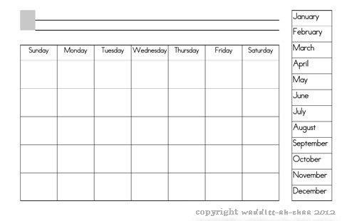 Printable Calendar With Days Of Week   Blank Calendar Design 2017