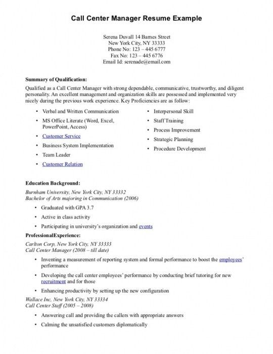 The Most Stylish Call Center Resume Examples | Resume Format Web