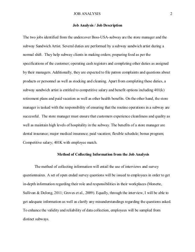 Creative Writing Job Analysis, Job Description
