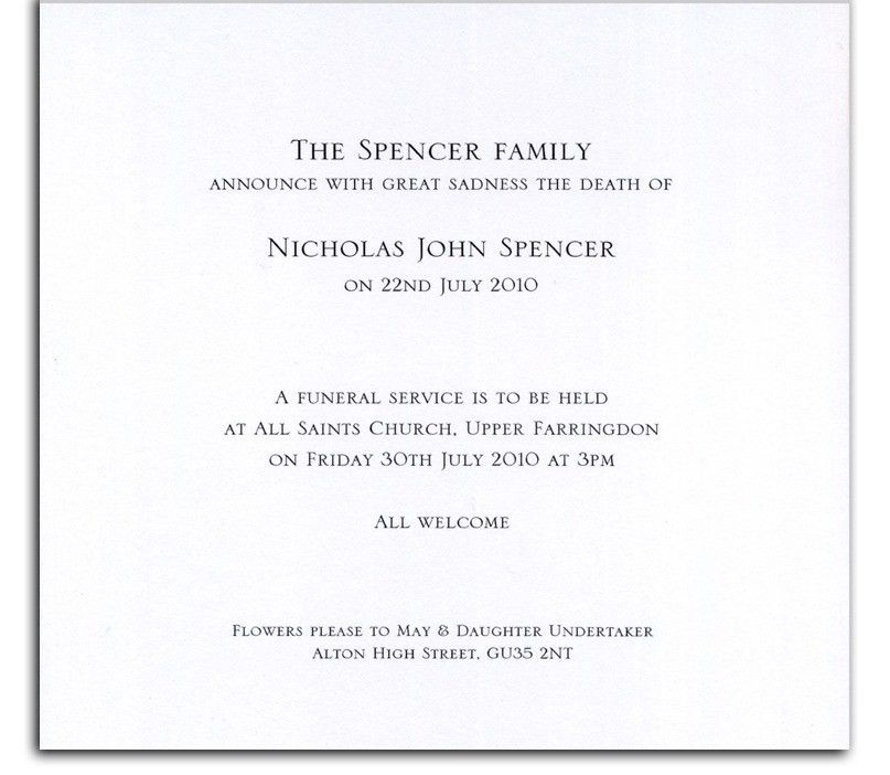 Funeral Announcement Cards, Death Announcement Cards and ...