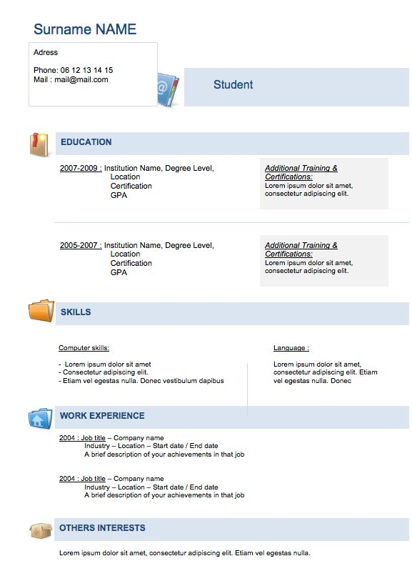 Free Resume templates to Download | Examples Of Resumes