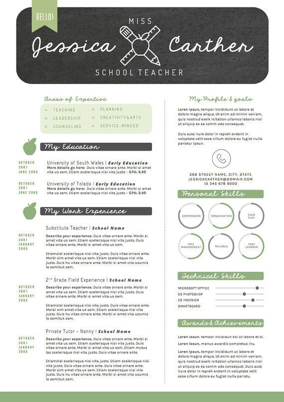 Teacher Resume CV Design Cover Letter Template by OddBitsStudio ...